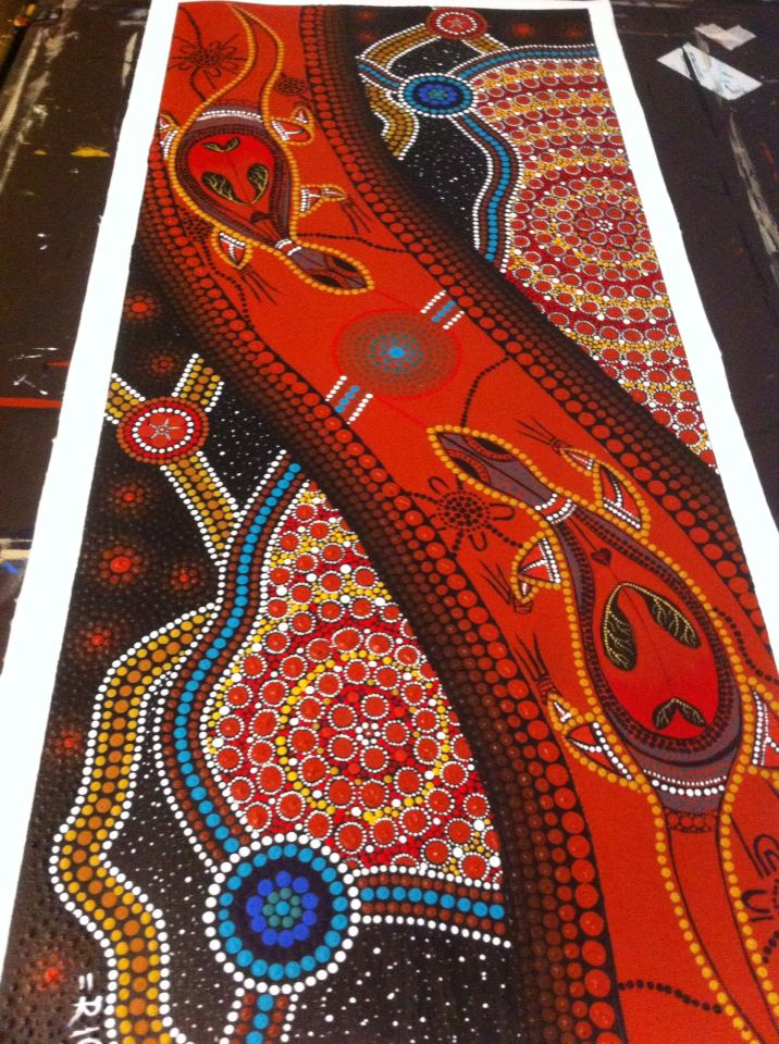 """Soul mates"" Acrylic on canvas Aboriginal dot painting 1000 x 400mm"