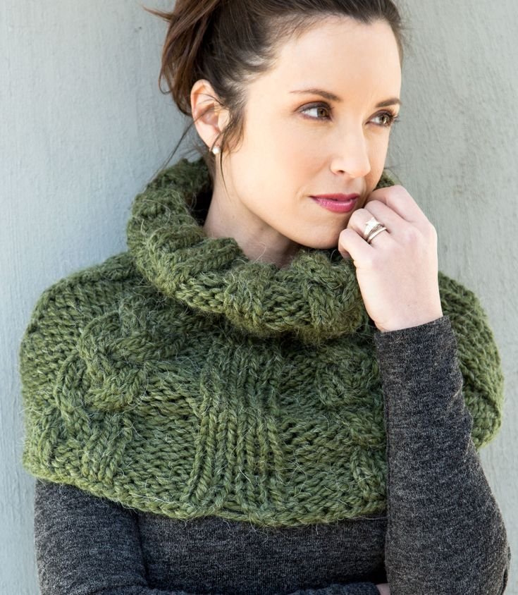 Free Knitting Pattern for Lush Cable Cowl - This shoulder cozy increases in circumference from the neck edge to fit over the shoulders. Quick knit in super bulky yarn.