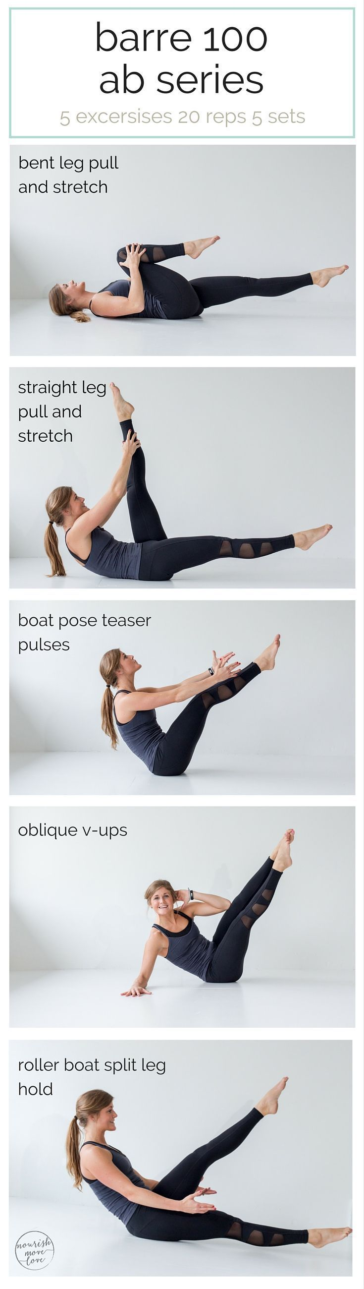 awesome best barre exercises for flat abs {barre 100 ab series} - nourish move love