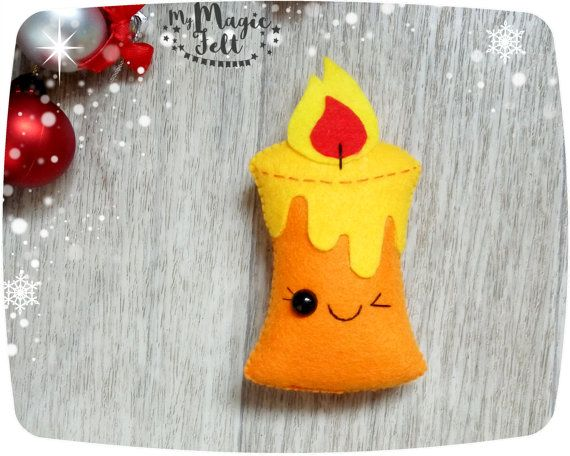 Christmas ornaments Candle felt ornament for Christmas tree decorations…