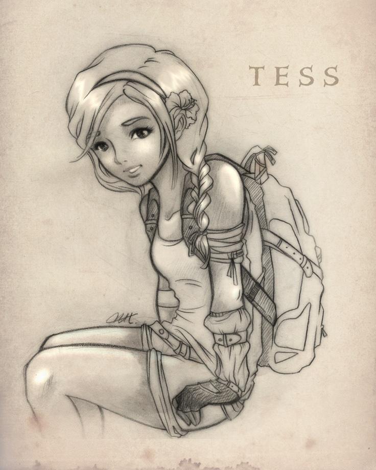 A sketch of Tess, pre-Prodigy bob haircut.
