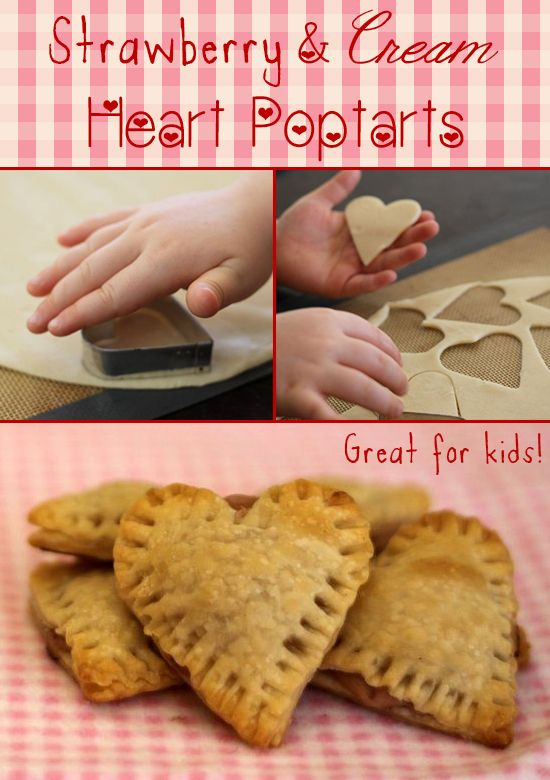 Adorable and tasty, Heart-shaped strawberry and cream pop tarts!