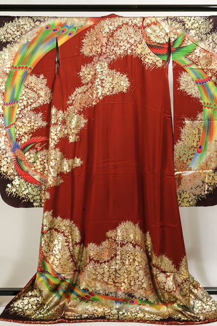 Japanese Vintage Kimono Dress Uchikake Wedding Tsukesage Peacock bamboo on red