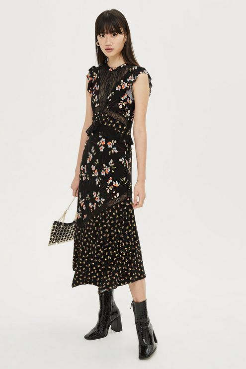 6345c86e4a8 Lace Mix Print Midi Dress in 2019 | Dresses | Dresses, Mixing prints ...