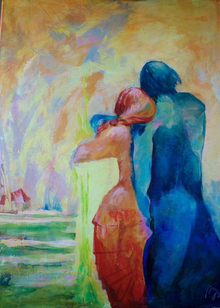 """Famillie"", 2015, akryl/lerret, 80x60,"