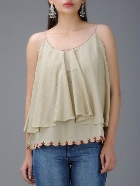 Beige Hand-Embroidered Cotton Layered Top