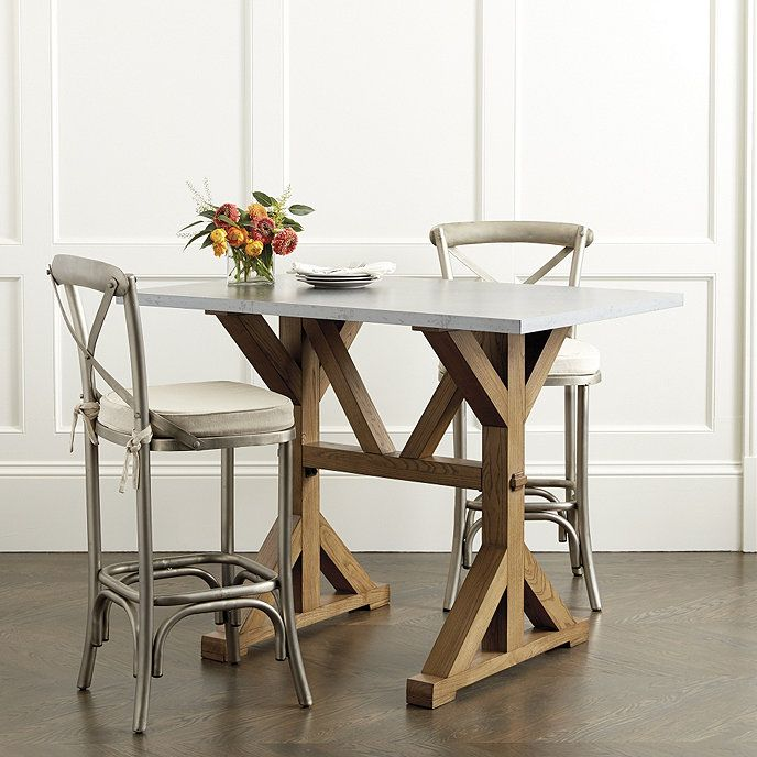 Tatum Trestle Counter Table With Zinc Top Ballard Designs Small Kitchen Tables Trestle Dining Tables Fabric Dining Chairs
