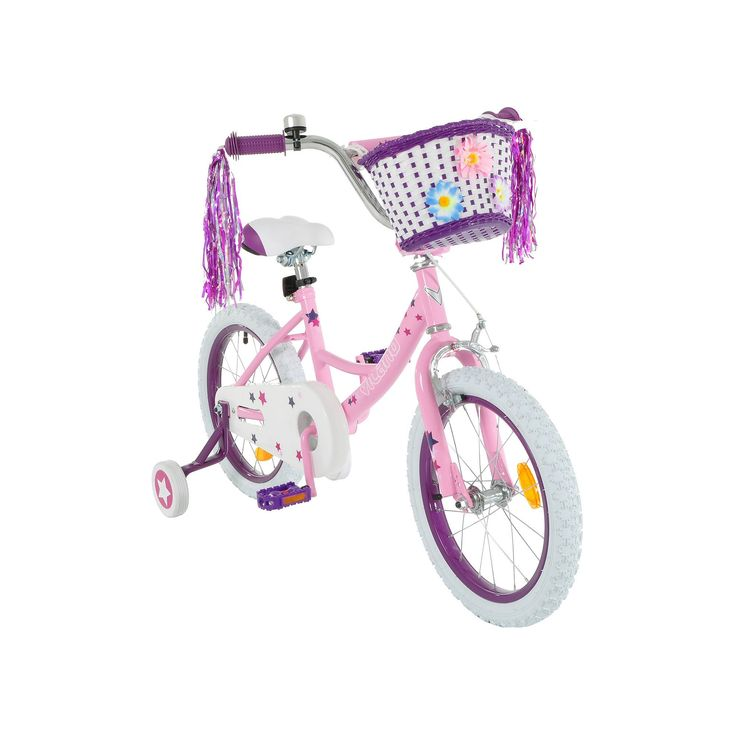 Girls Vilano 16-Inch Bike with Training Wheels & Basket, Pink, Durable