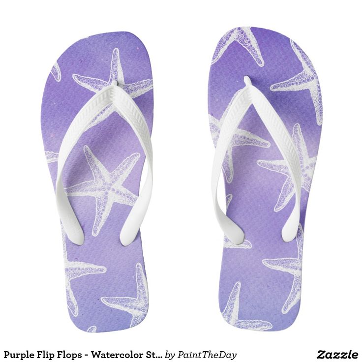 Purple Flip Flops - Watercolor Starfish