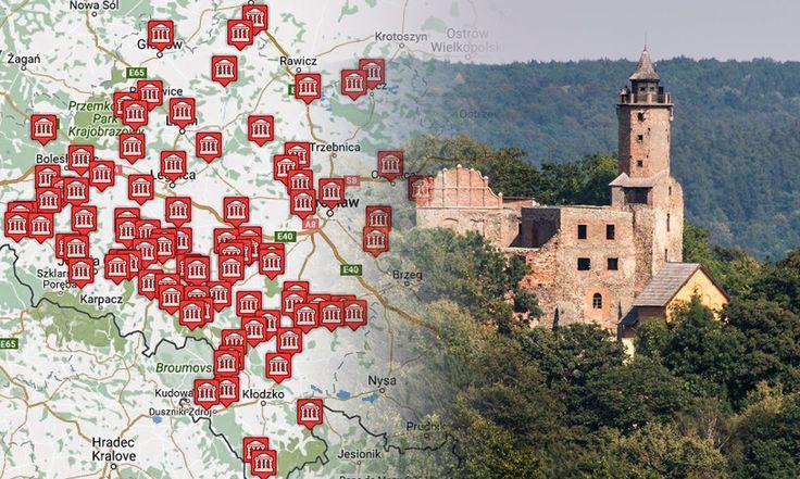 Mapa wszystkich zamków Dolnego Śląska. Średniowieczne zamki, gotyckie warownie, dwory obronne, zamkowe ruiny. Szlakiem dolnośląskiej krainy zamków.