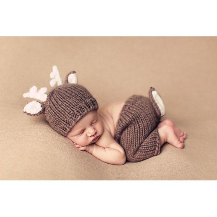 Natale Deer Design Handmade Crochet Deer Costume Set Cappelli Lavorati A Maglia e Pantaloni Appena Nato Fotografia Puntelli Servizio Fotografico