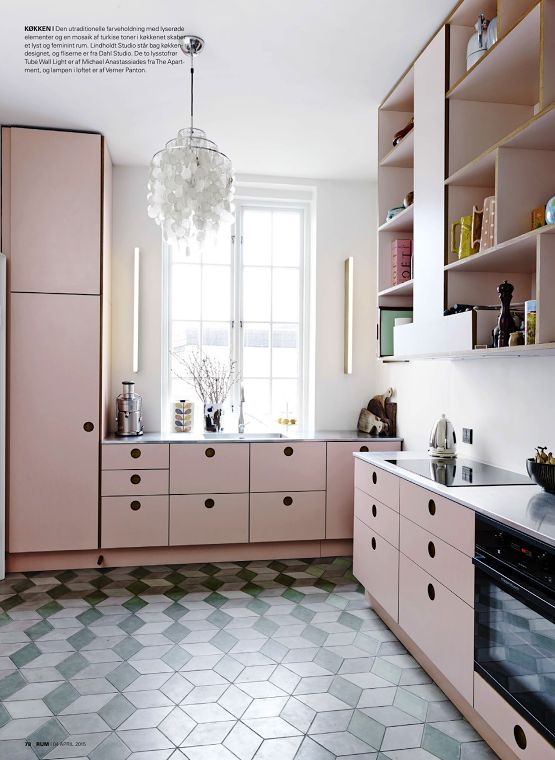 Pink cabinets, cube tiles. Modern vintage feel for the kitchen.