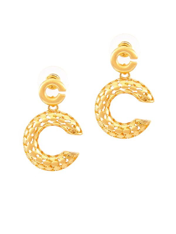 Wholesale glassic channel icon earring in gold plated from China jewelry supplier