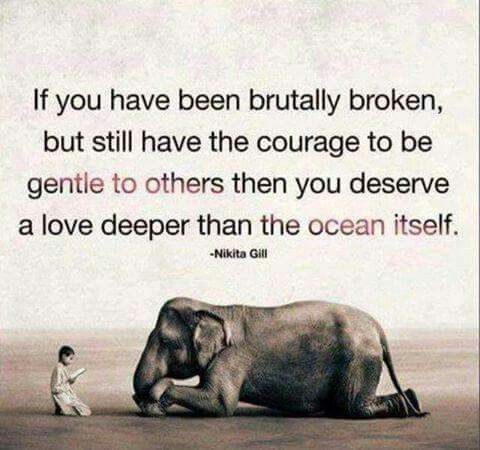 If you have been brutally broke, but still have the courage to be gentle to others then you deserve a love deeper than the ocean itself.