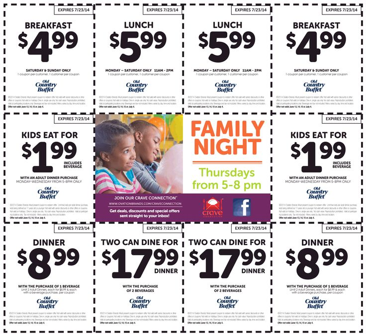 Pinned June 7th: $2 kids, $5 breakfast, $6 lunch  more at Old Country Buffet coupon  http://www.pinterest.com/AnnaCoupons/old-country-buffet-coupons/