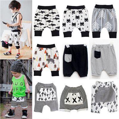 Baby Boys Girls Harem Pants Baggy Striped Shorts Kids Trousers Bottoms Sweatpant…