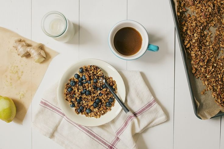 Lemon Ginger Granola ***[Delicious, simple, and fresh tasting granola. Nice change from more heavy flavored recipes. Uses fresh ginger and lemon zest. I substituted the puffed quinoa for more oats. Added a flax egg. Didn't stir while it was baking and created nice clusters.]***