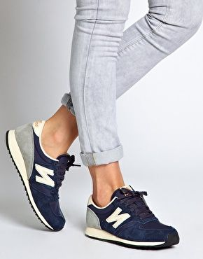 Enlarge New Balance 420 Navy Suede Trainers