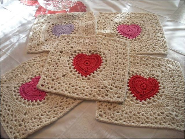 Center Heart Square - free crochet pattern
