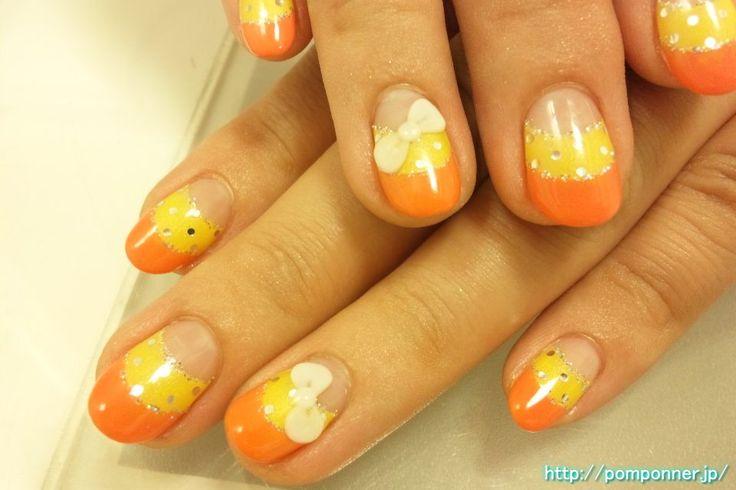 French double yellow and orange nail  イエローとオレンジのダブルフレンチ