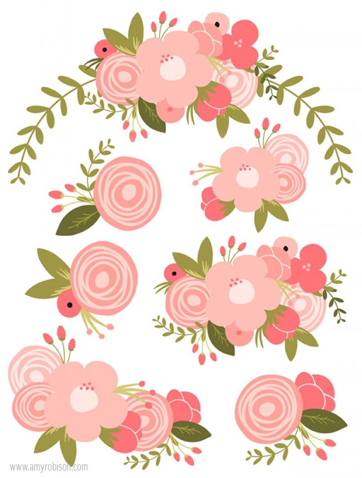 Use these Spring Bouquet print and cut files with your Silhouette to create unique designs for cards, scrapbooks and more. www.amyrobison.com/blog #flowers #bouquets #silhouettecameo