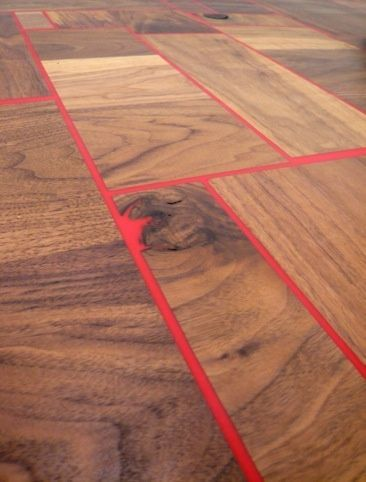 Table top in reclaimed solid walnut with red thermaset resin by Sam Scott [exhibition @ Marsden Woo Gallery, 2011]: Solid Walnut, Reclaimed Solid, L'Wren Scott, Resins, Color, Tables Tops, Wood Floors, Wood Tables, Interesting Ideas