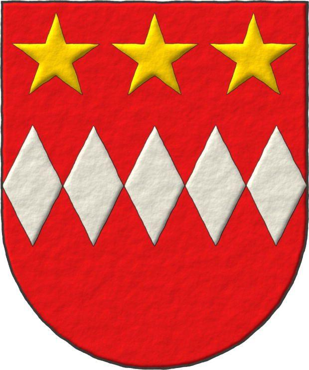 Philip Daubeny ~ Philip Daubeney: Escudo de gules, cinco fusos de plata, en faja; tres estrellas de oro, en jefe.
