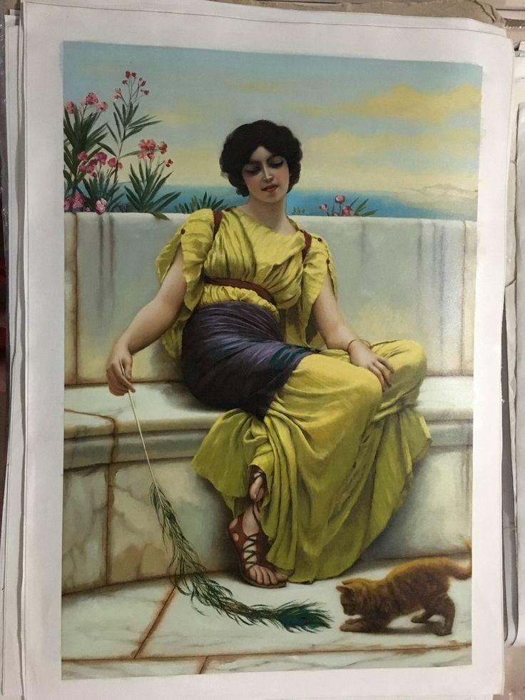 Классической людей ручной работы маслом желтом платье женщины морской ручной росписью гостиная центральной повесить картины маслом