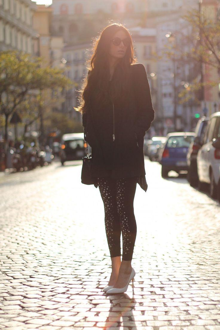 lovehandmade_fashion blog_barbara valentina grimaldi_christmas outfit_winter 2013_rounded sunglasses_furla handmabag_jewel leggings Mirtylla_zara black coat_gianvito rossi pumps_rum jungle dress_bijou brigitte earrings_orologio Hoops_sodini bracciale pelle