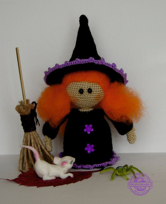 Witch Doll handmade crochet Halloween doll Witch by KrugerShop