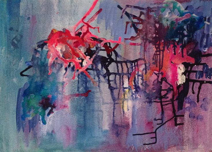 Abstract by Lyn Lowes Acrylic on paper