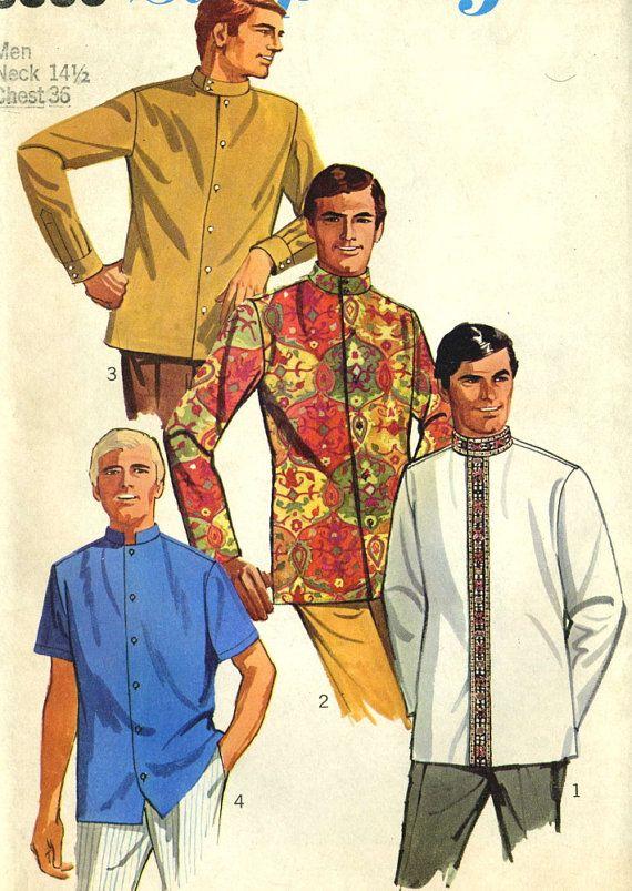Vintage 60s Simplicity 8006 UNCUT Mens Nehru Jacket Meditation or Guru Shirt Sewing Pattern