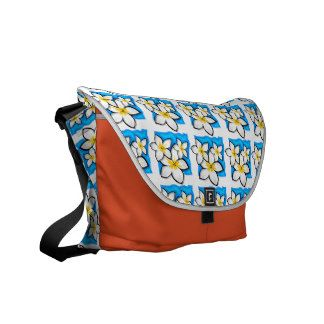 White Frangipani Courier Bags
