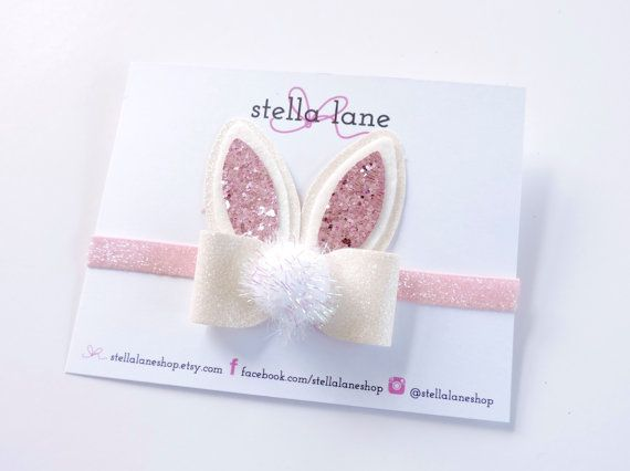 Easter Bunny Ear Bow Headband or Clip - hair accessories - toddler headband - hair clips - spring bow headband