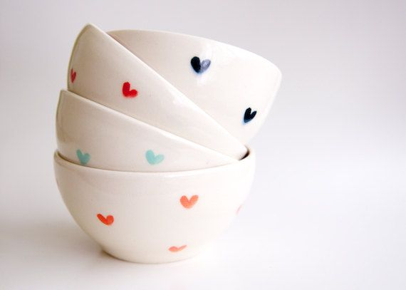 Mint and Coral Teal and Red Heart Bowls Set of 4 Hand by RossLa