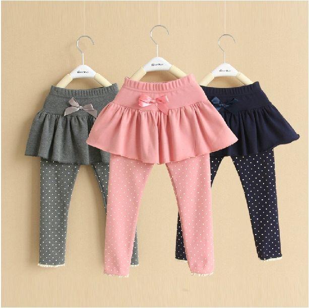 Otoño corea del estilo de puntos Pantskirt niños Girls Cotton Leggings niños chica de moda rinde los pantalones con falda envío gratis
