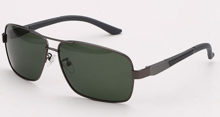 Gun Grey Rectangle Frame Green Polarized Pilot Sunglasses