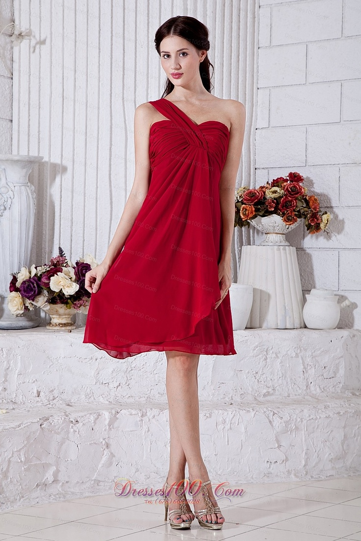 25 best bridesmaid dresses images on pinterest bridesmaids buy famous one shoulder wine red chiffon short quinceanera damas dresses from dama dresses collection one shoulder neckline empire in red wine red color ombrellifo Choice Image