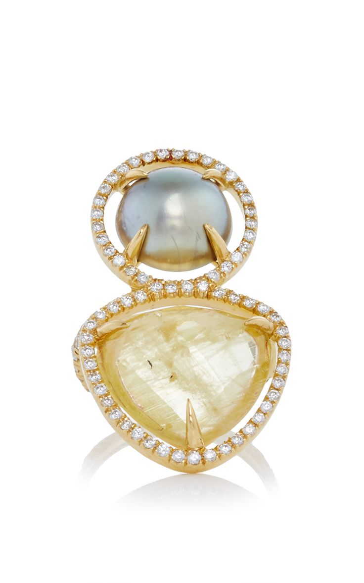 MO Exclusive: One Of A Kind 18K Gold Beryl And Pearl Slice Ring - Jordan Alexander Spring Summer 2016 - Preorder now on Moda Operandi