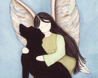 Negro lab (Labrador Retriever) con angel / Lynch firmado arte popular impresión