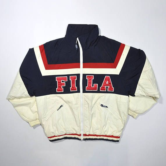 Jacket Big Logo 90s Fila Italia Vintage Puffer oWCBerdx