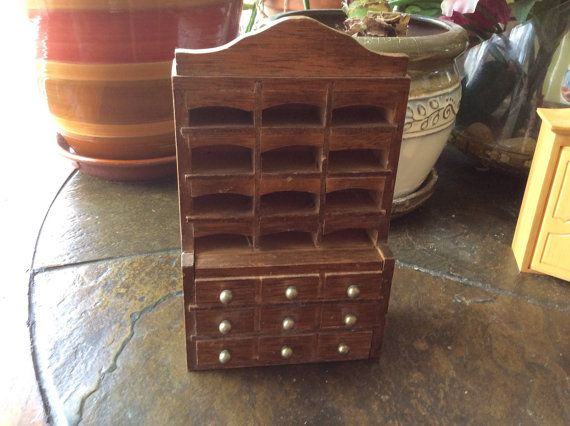 Miniatures wooden chest 1960s handmade drawers pull out by EMTWTT