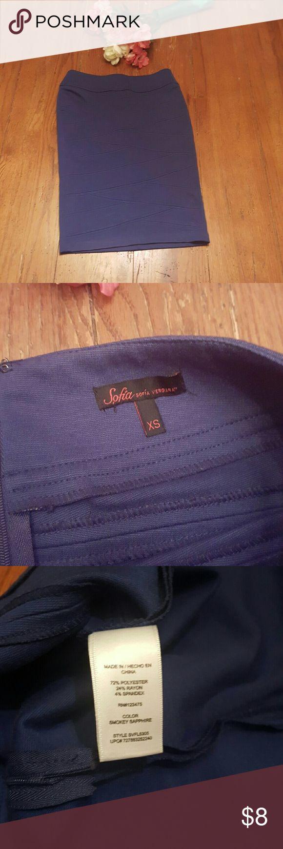 """[Sofia Vergara] Pencil Skirt Brand: Sofia Vergara Size: XS Color: Blue Measurements: Length - 22"""" Waist - 15"""" across Good Condition sofia Vergara Skirts Pencil"""