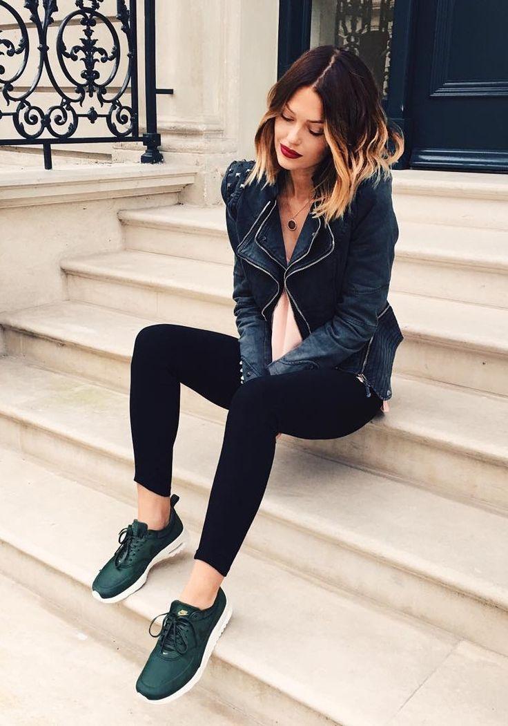 Amazing @caroreceveur wearing grey studded shoulder denim blazer. Get her  look here.