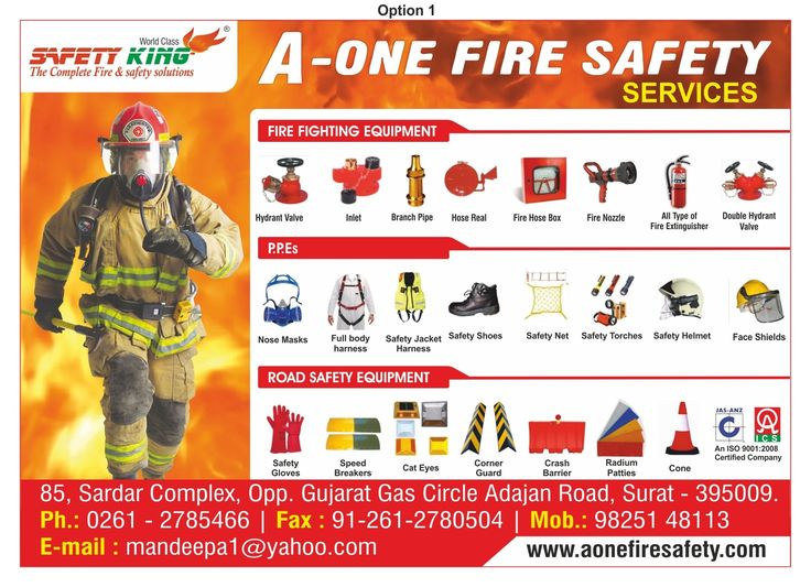 We would like to state that we are working in the service of Fire and Safety last 20 years. We provide all type of products related to above subject for our valuable customers. We are specialized for the following items in Industry:  	All type fire extinguisher with ISI Mark. 	Hydrant system. 	Co2 flooding system. 	Fire Alarm system, PA System, C.C TV, Fire Detection System 	Sprinkler Spray System   	FM 200 Spray System 	All type body Safety Equipments, like Safety Goggles, Safety…