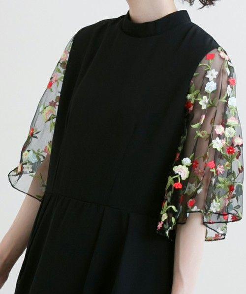 merlot plus(メルロープリュス)の「花刺繍レーススリーブワンピース5949(ワンピース)」|詳細画像