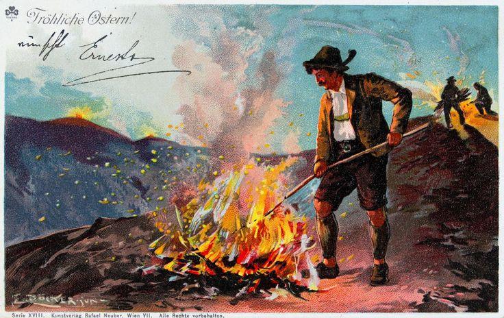 """""""Fröhliche Ostern!"""", 0sterfeuer. 1900. Farblithographie von E. Döcker jun. Kunstverlag Rafael Neuber"""