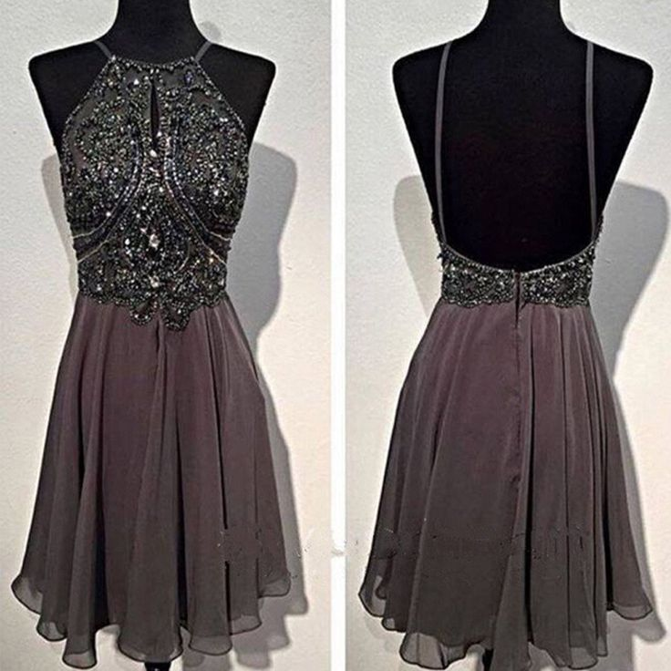 Dark grey sparkly special vintage open back sexy popular homecoming pr –…