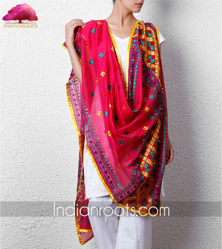 Handcrafted Phulkari chanderi dupatta with ethnic hand embroidery by Talking Threads on Indianroots.com