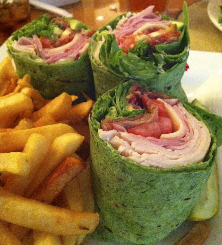 Turkey club wrap with french fries- Barron's Restaurant in the Sheraton Gunter Hotel. Downtown San Antonio.